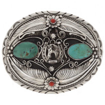 Navajo Turquoise Coral Belt Buckle 31289