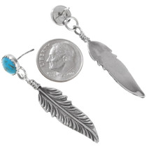 Silver Feather Turquoise Dangle Earrings 27147