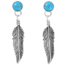 Turquoise Feather Navajo Earrings 27147