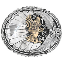 Navajo Gold Silver Belt Buckle 14764
