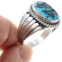 Native American Sterling Silver Blue Turquoise Ring 29682