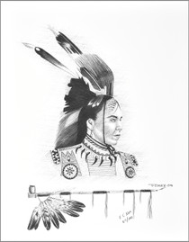 Native Indian Brave Peace Pipe Print 17204