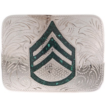 Inlaid Silver Military Belt Buckle 22457