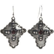 Garnet Silver Cross Dangle Earrings 28852