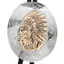 Silver Gold Indian Chief Bolo Tie 23423