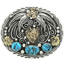 Silver Gold Wolf Belt Buckle 17447