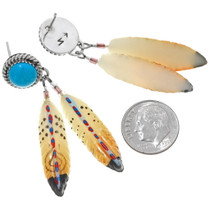 Hand Painted Post Dangle Feather Earrings 24544