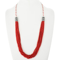 Native American Coral Silver Necklace 18763