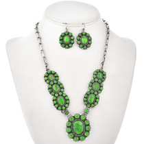 Gaspeite Sterling Link Necklace Set 29623