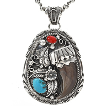 Turquoise Coral Mens Pendant 27145