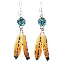 Turquoise Feather Dangle Earrings 25389