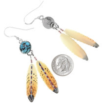 Spiderweb Turquoise Feather Earrings 25389