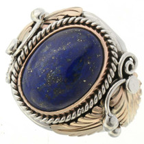Mens Lapis Gold Silver Ring 24110