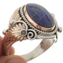 Lapis Silver Gold Mens Ring 24110