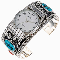 Navajo Turquoise Coral Mens Watch 24479