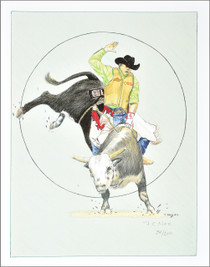 Indian Cowboy Bull Riding Art Print 35803