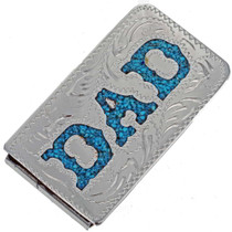 Inlaid Turquoise Silver Money Clip 23052