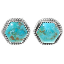 Turquoise Silver Navajo Post Earrings 29447