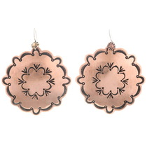 Navajo Handmade Copper Concho Earrings 22318