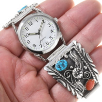 Sterling Silver Southwest Turquoise Watch Tips 28950