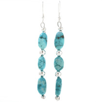Navajo Turquoise French Hook Earrings 23651