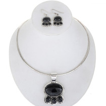 Navajo Black Onyx Silver Necklace Set 27904