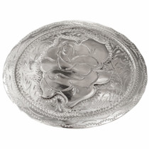 Engraved Silver Rose Belt Buckle 32658