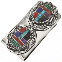 Inlaid Turquoise Silver Money Clip 12952