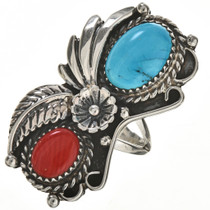 Turquoise Coral Silver Ladies Ring