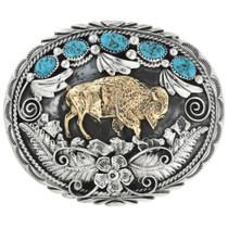 Gold Buffalo Turquoise Belt Buckle 17437