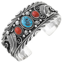 Turquoise Coral Silver Bracelet 16059
