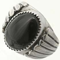 Black Onyx Sterling Mens Ring 26708