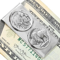 Navajo Indian Head Nickel Silver Money Clip 23622