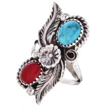 Navajo Turquoise Coral Ladies Ring 28532