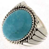 Navajo Turquoise Silver Ring 23398