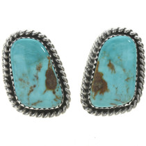 Turquoise Single Stone Silver Earrings 28527