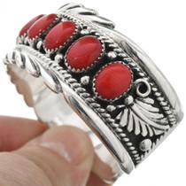 Southwest Red Coral Sterling Bracelet 10960