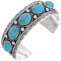 Navajo Turquoise Silver Cuff Bracelet 16237