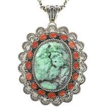 Grass Turquoise Large Coral Pendant 28990
