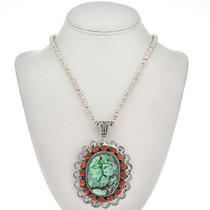 Navajo Chrysotine Coral Silver Pendant 28990