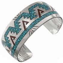Turquoise Coral Inlaid Cuff 26000
