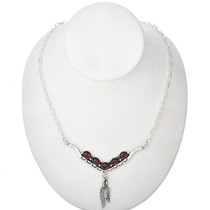 Red Garnet Silver Link Necklace 29251