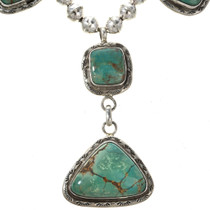 Southwest Turquoise Hammered Silver Necklace 12444