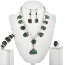 Moss Green Turquoise Silver Necklace Set 12444