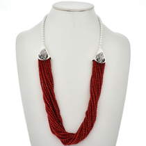 Native American Coral Silver Necklace 26535