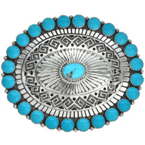 Native American Turquoise Silver Belt Buckle 28291