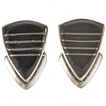 Inlaid Jet Silver Post Earrings 14479