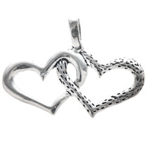 Sterling Silver Linked Hearts Charm 35438