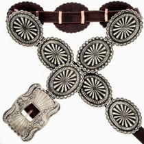 Native American Silver Concho Belt 15793