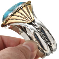 Navajo Gold Sterling Turquoise Cuff 27035